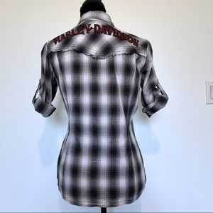 Harley Davidson Spell Out Pearl Snap Shirt Size S